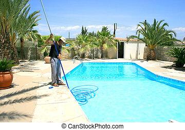 nettoyeur, piscine, natation