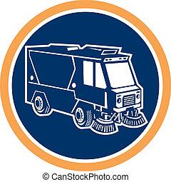 nettoyeur rue, camion, cercle, retro