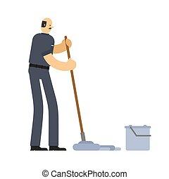 nettoyeur, service, lavette, ouvrier, bucket., swabber, concierge, man.