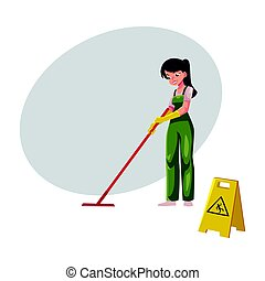nettoyeur, service, seau, lavette, girl, charwoman, tenue, salopette, nettoyage