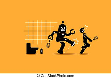 nettoyeur, sien, concierge, loin, ouvrier, robot, métier, nettoyage, humain, coups pied, toilet.