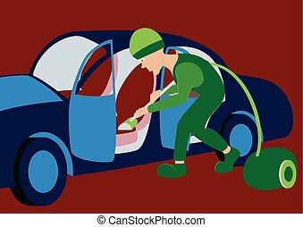 nettoyeur, usage, illustration., voiture, ouvrier, vecteur, nettoyage, vide, intérieur, confection