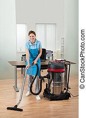 nettoyeur, vide, ouvrier, nettoyage, plancher