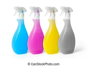 nettoyeurs, pulvérisation, coloré