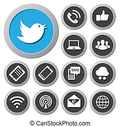netværk, anordninger, set., iconerne, ambulant