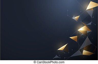 netværk, concept., baggrund., guld, gråne, prikker, teknologi, molekyler, polygonal, shapes., linjer, forbinde, abstrakt, sammenhænge, fremtidsprægede