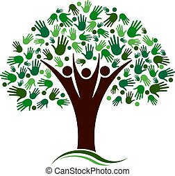 netværk, familie træ, vektor, hænder, logo