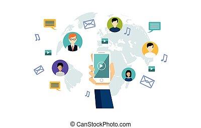 netværk, folk, medier, hen, al, illustration, vektor, forbinde, sociale, verden