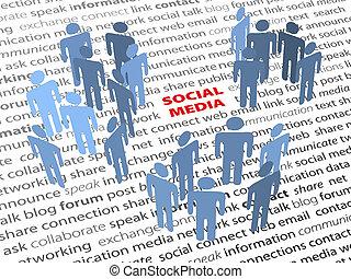 netværk, folk, medier, tekst, gloser, sociale, side
