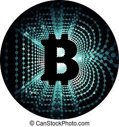 netværk, form, penge, -, bitcoin, nyskabende, elektronisk ydelse