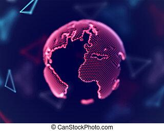 netværk, globale, planet, sammenhænge, lines., digitale, jord, concept: