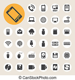 netværk, iconerne, ambulant, set., anordninger, sammenhængee, computer