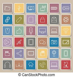 netværk, iconerne, kommunikation, globale, computer, sociale