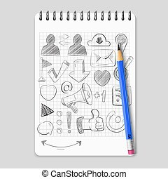 netværk, iconerne, medier, hånd, realistiske, notesbog, sociale, stram