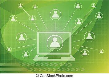 netværk, kommunikation, globale, computer, sociale, netværk