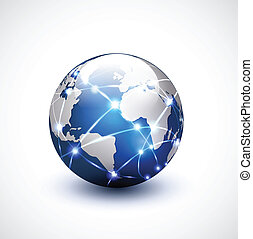 netværk, kommunikation, illustration, vektor, verden, teknologi