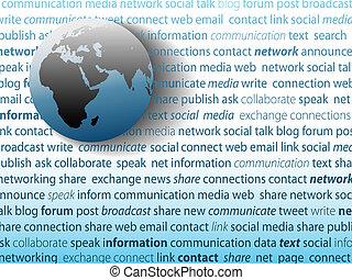 netværk, medier, global kommunikation, sammenhænge, sociale