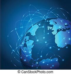 netværk, mesh, vektor, illustration, verden, teknologi