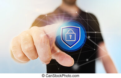 netværk security, begreb, hos, forretningsmand, røre, hængelås, ikon, på, gennemskinnelig, berøring skærm