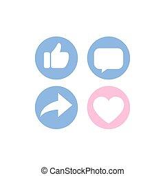 netværk, skygge, længe, oppe, tommelfinger, hjerte, sæt, bemærkningen, sociale, ikon, dele, ikon