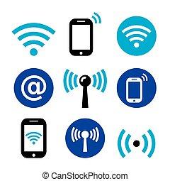 netværk, smartphone, iconerne, wifi, zone, trådløs, sæt, internet