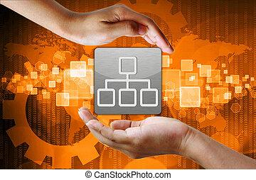 netværk, symbol, ind, hånd, firma, baggrund