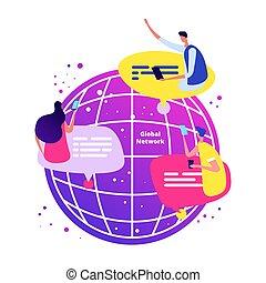netværk, telefoner, concept., globale, illustration, vektor, snakke, online, internationale