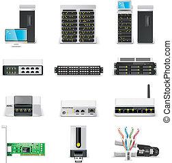 netw, icon., 计算机, 矢量, p.2, 白色