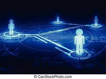 netwerk, abstract, digitale , vector, achtergrond, sociaal, technologie