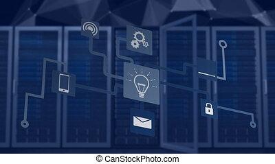 netwerk, animatie, gegevensverwerking, wolk, aansluitingen