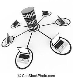 netwerk, archief, database., of, laptops, computer, abstract