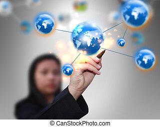 netwerk, businesswoman, sociaal, communicatie, media, tekening