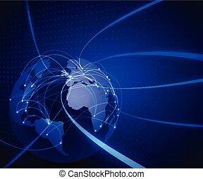 netwerk, communicatie, illustratie, maas, technologie, vector, wereld, achtergrond, concept