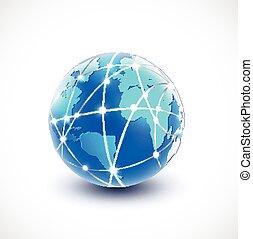 netwerk, communicatie, illustratie, vector, wereld, technologie