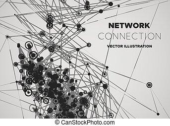 netwerk, communicatie, mesh., polygonal, achtergrond., vector, sociaal, illustration.