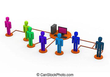 netwerk, computer, mensen