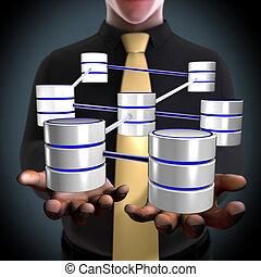 netwerk, concept, architect, makend, databank