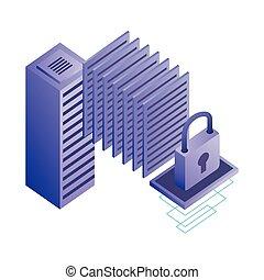 netwerk, databank, kelner, veiligheid, gegevensmidden