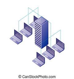netwerk, databank, overdracht, kelner, laptops, verbinding, data