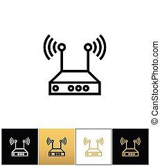 netwerk, draadloos, vector, internet, router, pictogram