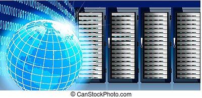 netwerk, en, internet, globaal, wereld, met, communicatie, technologie, gegevensmidden, kelner, rekken