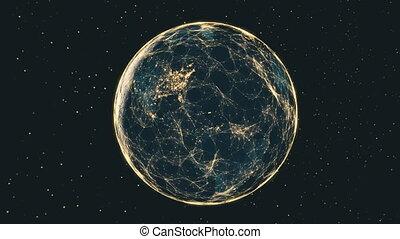 netwerk, gegevensstroom, earth., door, futuristisch