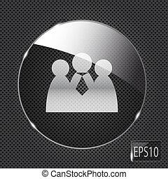 netwerk, glas, knoop, metaal, illustratie, achtergrond., vector, sociaal, pictogram