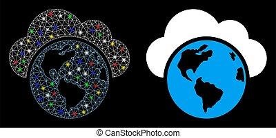 netwerk, globe, maas, helder, stippen, pictogram, licht