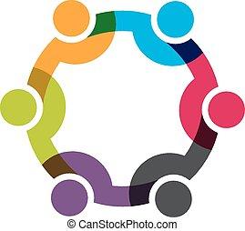 netwerk, groep, zakenlui, 6, men., vector, ontwerp, sociaal