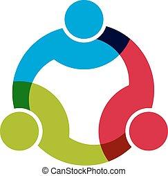 netwerk, groep, zakenlui, men., 3, sociaal