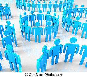 netwerk, groepen, middelen, globale mededelingen, en, communiceren