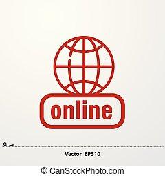 netwerk, icon., globaal, pictogram, online, rood