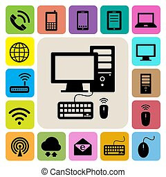 netwerk, iconen, beweeglijk, set., artikelen & hulpmiddelen, aansluitingen, computer illustratie