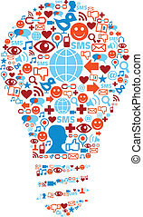 netwerk, iconen, media, symbool, lamp, sociaal
